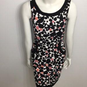 Cleo Black White Printed Zipper Back Dress Size 4